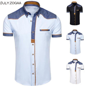 Men's Shirts Fashion Denim Short Sleeve Formal Shirts Man - duo-men-store