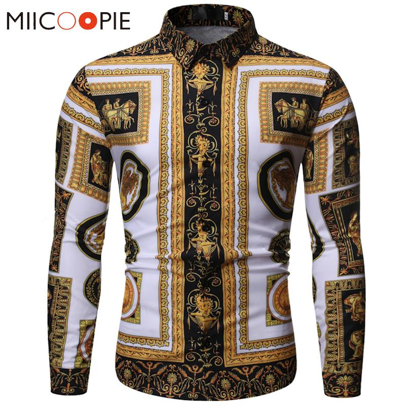 Fashion Luxury Royal Shirt Korean Style Men Baroque Floral Print Slim Fit Male Casual Dress Shirt - DUO MEN STORE