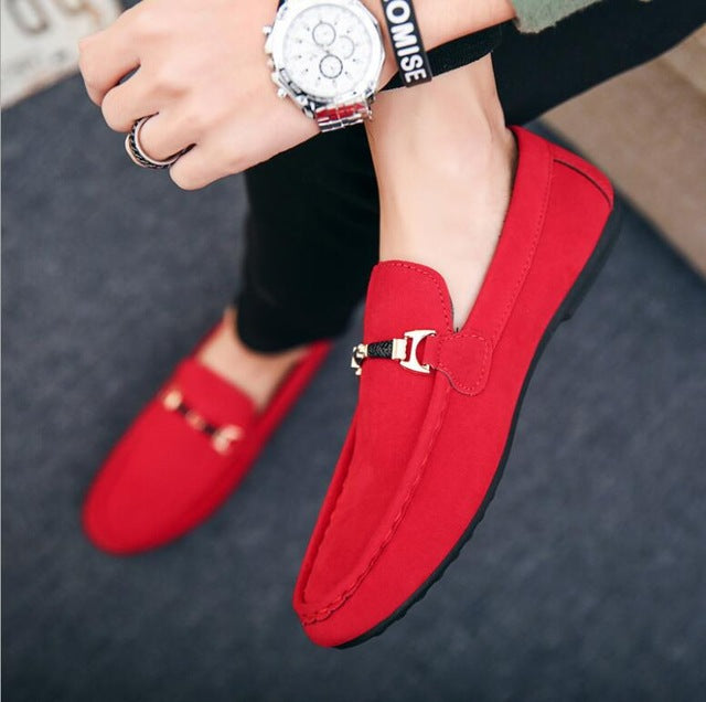 Red Solid Leather Driving Moccasins Gommino Slip on Men Loafers