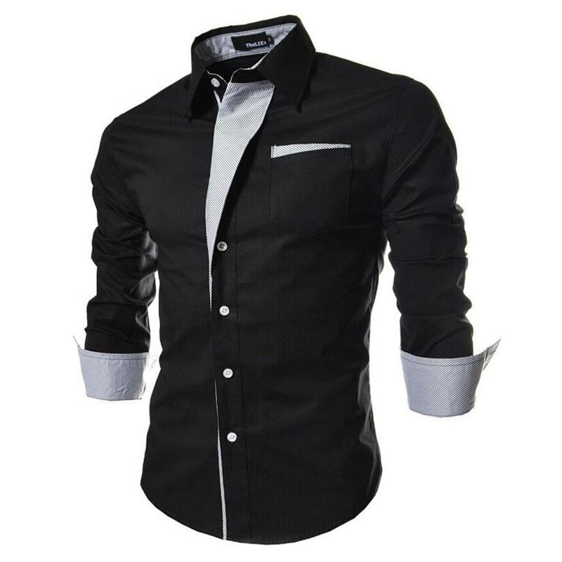 New Brand Long Sleeve Shirts Social Male Slim Fit - DUO MEN STORE
