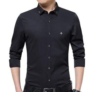 Embroidery Men Clothes Solid Slim Fit Men Long Sleeve Shirt Casual Men Social Shirt - DUO MEN STORE
