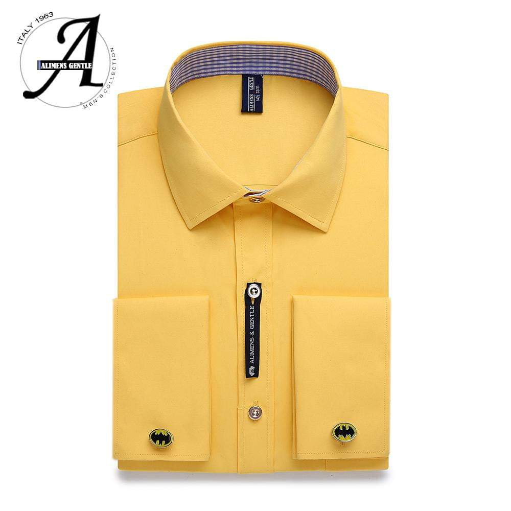 Alimens & Gentle Mens French Cuff Dress Shirt Men Long Sleeve Solid Color Striped Style Cufflink Include - DUO MEN STORE
