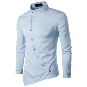 New Men's Fashion Cotton Long Sleeved Shirt Solid Color Slim Fit Shirts - DUO MEN STORE