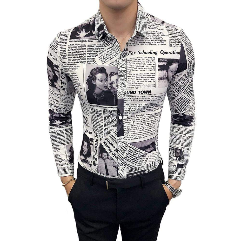 Fashion Casual Men's Long-sleeved Shirt Spring And Autumn Printing Newspaper Slim Shirt - DUO MEN STORE