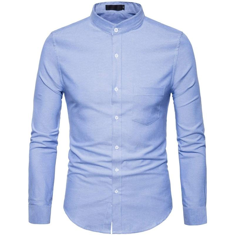 Cotton Shirt Men Spring Casual Slim Fit Stand Collar Mens Dress Shirts Long Sleeve - DUO MEN STORE