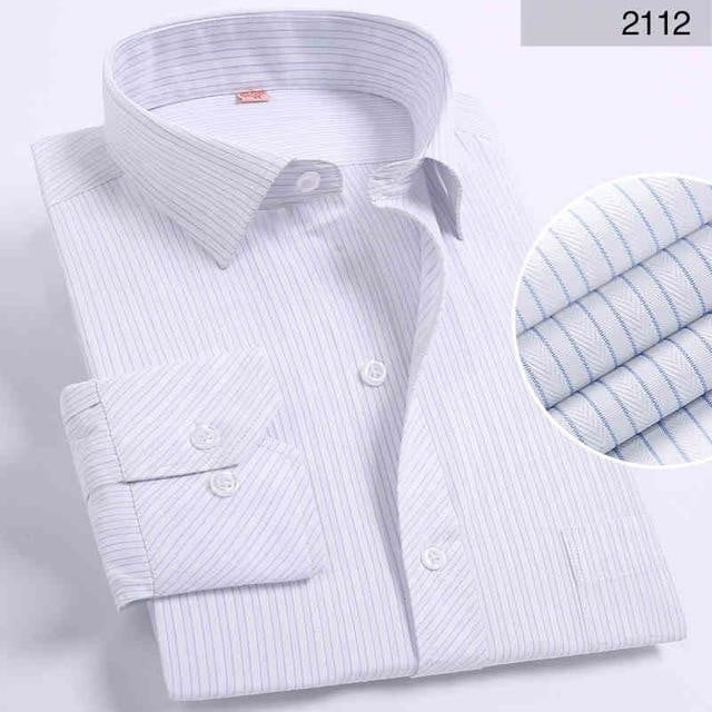 Spring Men Shirt Long Sleeved Striped Solid Plaid Male Business Shirt - duo-men-store