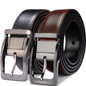 Men's Genuine Leather Dress Belt, Reversible Belt for Men Black/Brown and Black/Cognac - duo-men-store