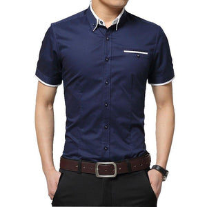 New Arrival Brand Men's Summer Business Shirt Short Sleeves Turn-down Collar Casual Shirt - duo-men-store