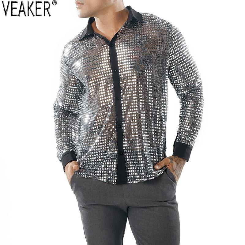 Sexy Sequin Transparent Shirt Black Through Shirt Male Long Sleeve Nightclub - duo-men-store