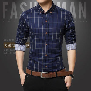 Men Plaid Shirts New Mens Dress Shirts Long Sleeve Slim - DUO MEN STORE