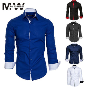 Hit color Men's Causal Slim Shirt White Blue Smart Causal Shirts - DUO MEN STORE