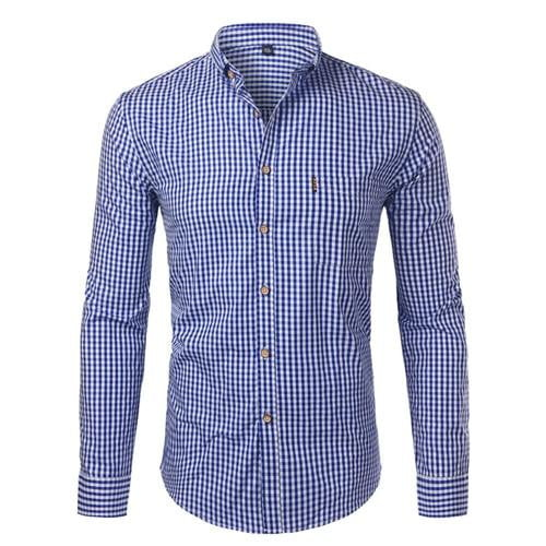 Mens Plaid Cotton Casual Slim Fit Long Sleeve Button Down Dress Shirts - duo-men-store