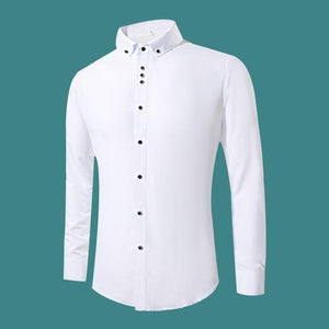 New Fashion White Dress Shirts Men Long Sleeve Casual White Formal Shirt Men Slim Fit - DUO MEN STORE
