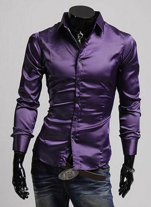 Casual Men Stylish Slim Fit Short Solid Color Long Sleeve Shirts - DUO MEN STORE