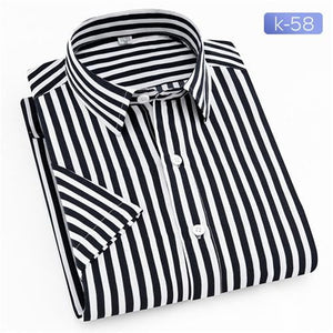 Men Casual Shirts New Turn Down Collar Mans Short Sleeve Shirt Striped Soft Breathable Male Outwears - duo-men-store
