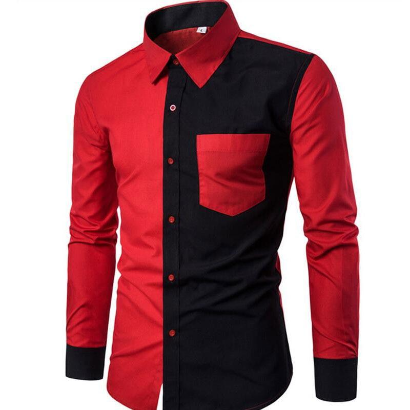 New Cotton Men Shirt  Fashion Black Red Patchwork Casual Slim Long-Sleeved Shirt - duo-men-store