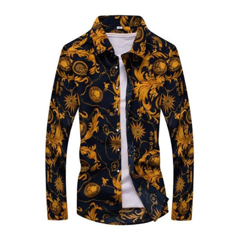 New Fashion Floral Print Slim Fit Shirts Men's Long Sleeve Casual Dress Shirts - duo-men-store