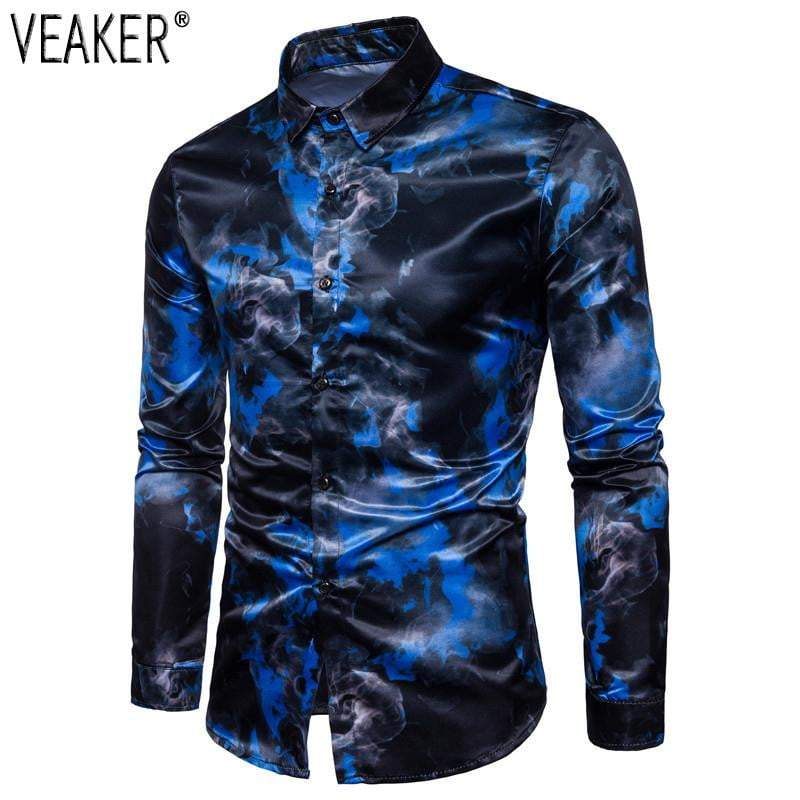 Autumn New Men's Silk Satin Printed Shirts Male Slim Fit Long Sleeve Party Shirts Men - DUO MEN STORE