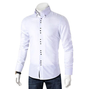 New Fashion Casual Shirt Men Long Sleeve Slim Fit Men's Casual Button-Down Shirt Formal Dress Shirts - DUO MEN STORE