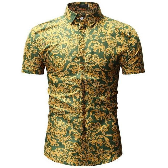 Brand Short Sleeve Plus Size Floral Shirts Men Casual  Clothing - duo-men-store