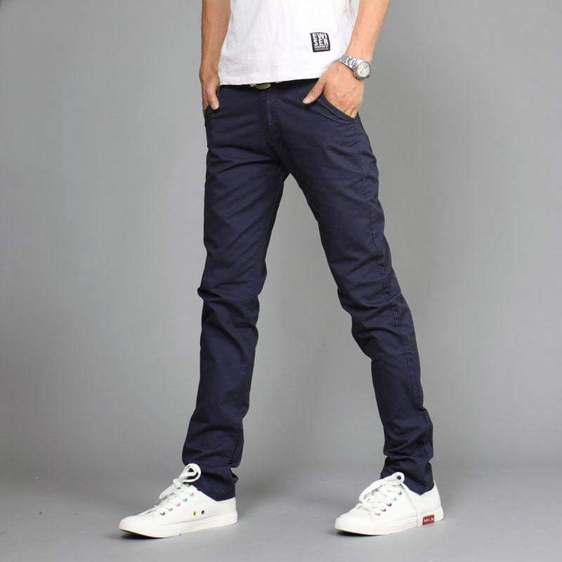 Spring Fashion Casual Pants Men Solid Outside Train Slacks Mid Waist Cotton Straight Pants - DUO MEN STORE