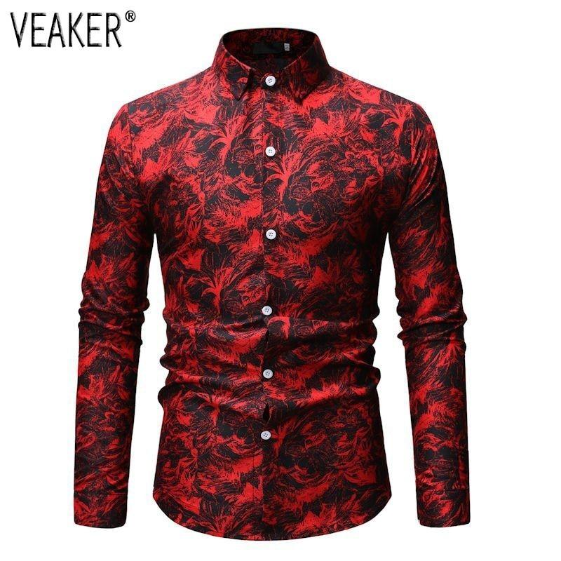 New Men's Floral Printed Shirts Male Slim Fit Long Sleeve Shirts - duo-men-store