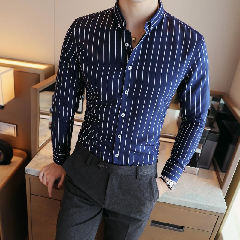 Men's Contrast Vertical Striped Dress Shirts High-quality Comfortable Cotton Long Sleeve Slim-fit - duo-men-store