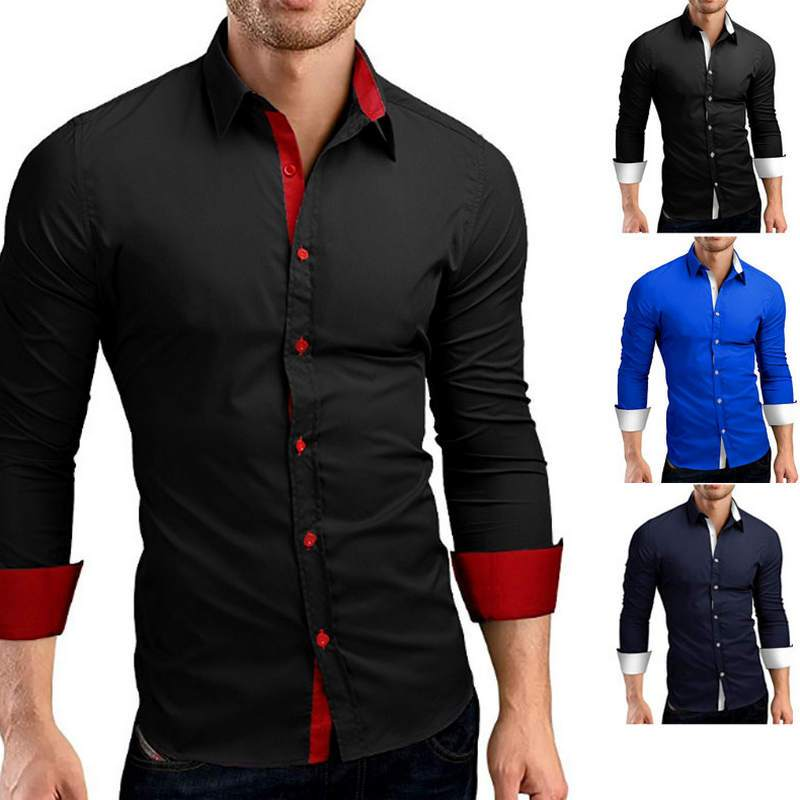 Male High Quality Long Sleeve Shirts Casual Hit Color Slim Fit - duo-men-store