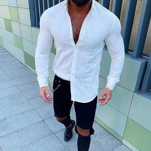 New Men's Slim Fit Linen shirts Male Sexy V Neck Cotton Linen Shirt - DUO MEN STORE