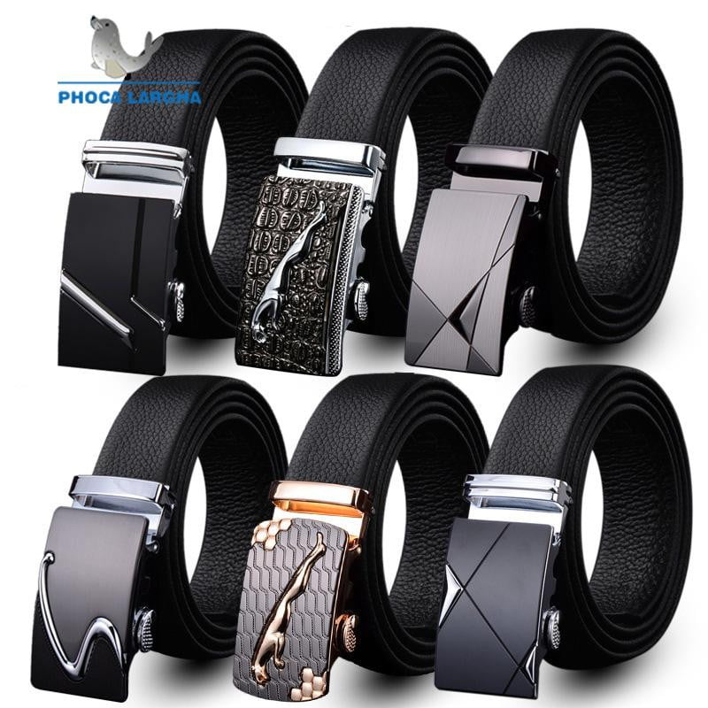 Mens Fashion Belt PU Leather Automatic Buckle Men Black Belt - duo-men-store