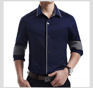 Top Quality Shirt Men 100% Cotton Dress Shirts Spring Long Sleeve Casual Shirt Men - DUO MEN STORE