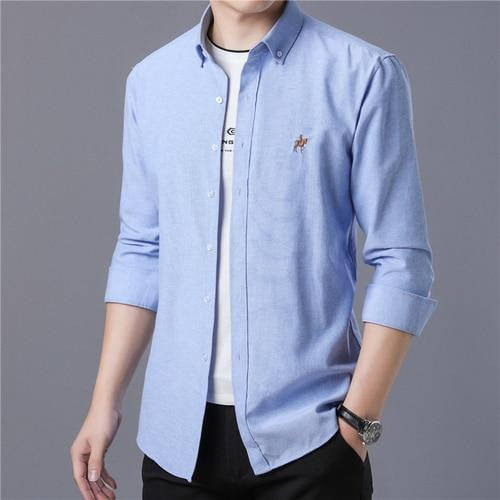 Long Sleeve Embroidery Printed Men's Shirts Regular Slim Fit Social Dress Men Shirt - duo-men-store