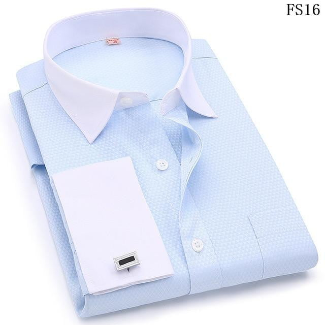 Men French Cufflinks Shirts White Collar Design Solid Color Jacquard Fabric Male Gentleman Dress Long Sleeves Shirt - duo-men-store