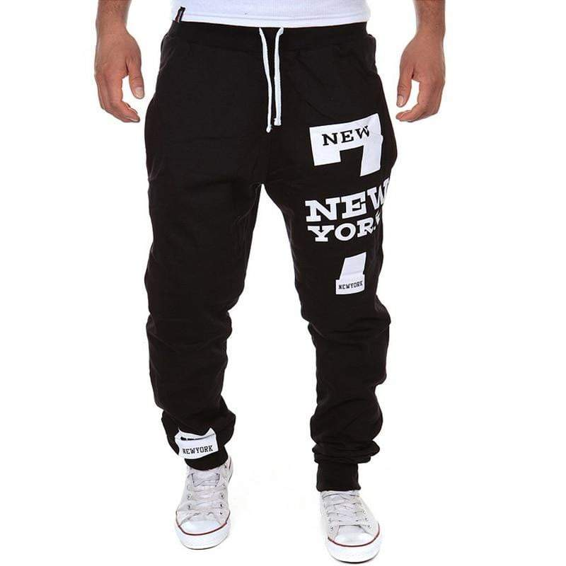 7 New York Letter Print Sweatpants Joggers Male Cotton Lace-up Casual Trousers - DUO MEN STORE