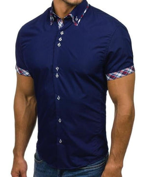 Pure Color Short Sleeve Casual Shirts Cotton Breathable Dress Shirt - duo-men-store