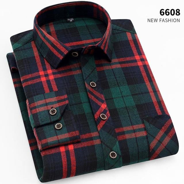 Men's Plaid Flannel Shirts Long Sleeve Casual Button Down Slim Fit - duo-men-store