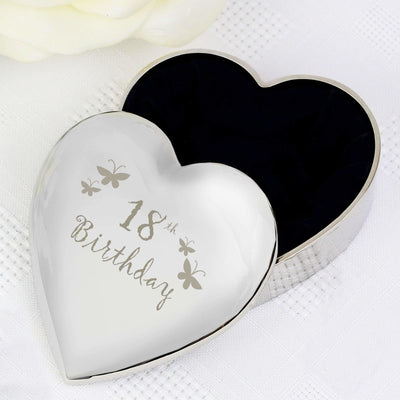 18th Butterflies Heart Trinket Box-Trinket Box-Give Personalised Gifts