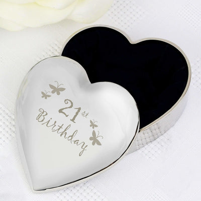 21st Butterflies Heart Trinket Box-Trinket Box-Give Personalised Gifts