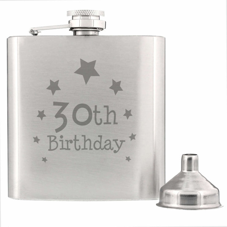 30th Birthday Hip Flask-Hip Flask-Give Personalised Gifts