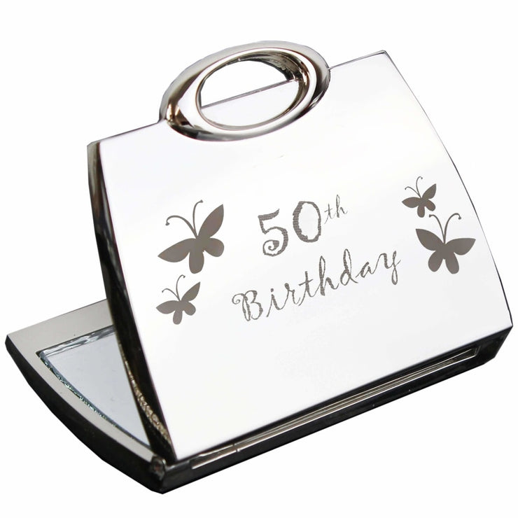 50th Butterfly Handbag Compact Mirror-Compact Mirror-Give Personalised Gifts