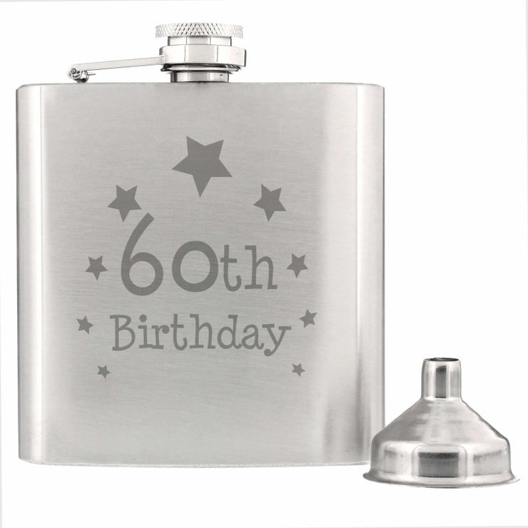 60th Birthday Hip Flask-Hip Flask-Give Personalised Gifts