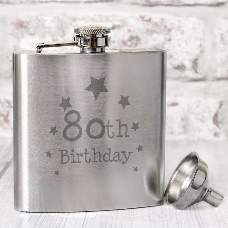 80th Birthday Hip Flask-Hip Flask-Give Personalised Gifts