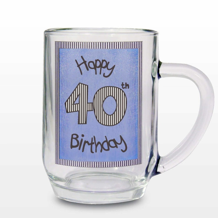 Blue 40th Happy Birthday Tankard-Tankard-Give Personalised Gifts