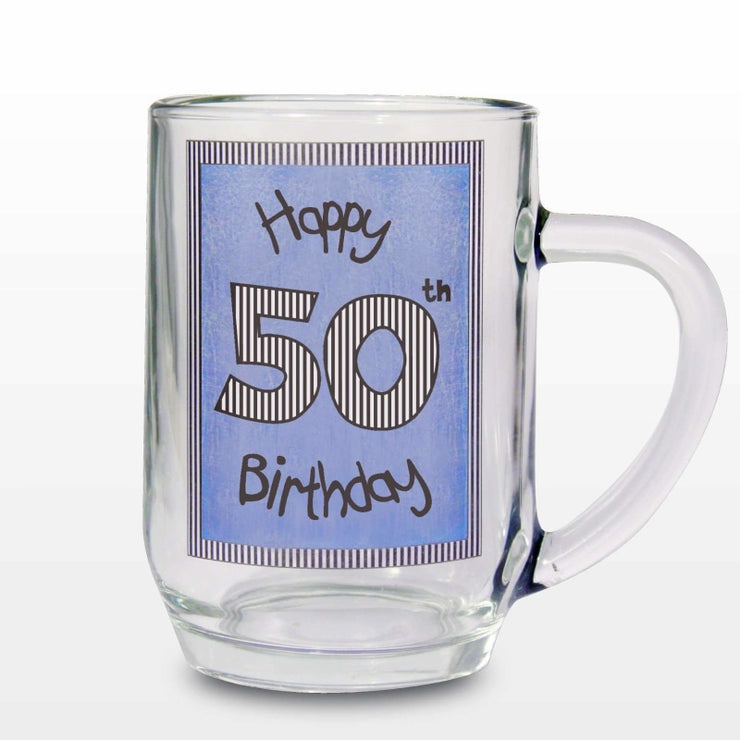 Blue 50th Happy Birthday Tankard-Tankard-Give Personalised Gifts