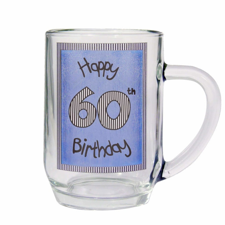 Blue 60th Happy Birthday Tankard-Tankard-Give Personalised Gifts