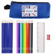 Blue Patchwork Union Jack Pencil Case with Personalised Pencils & Crayons-Stationary & Accessories Set-Give Personalised Gifts