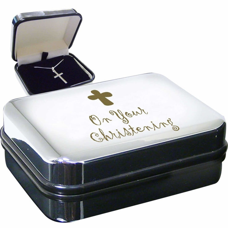 Christening Cross Necklace Box-Necklaces-Give Personalised Gifts