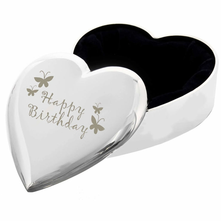 Happy Birthday Butterfly Heart Trinket Box-Trinket Box-Give Personalised Gifts