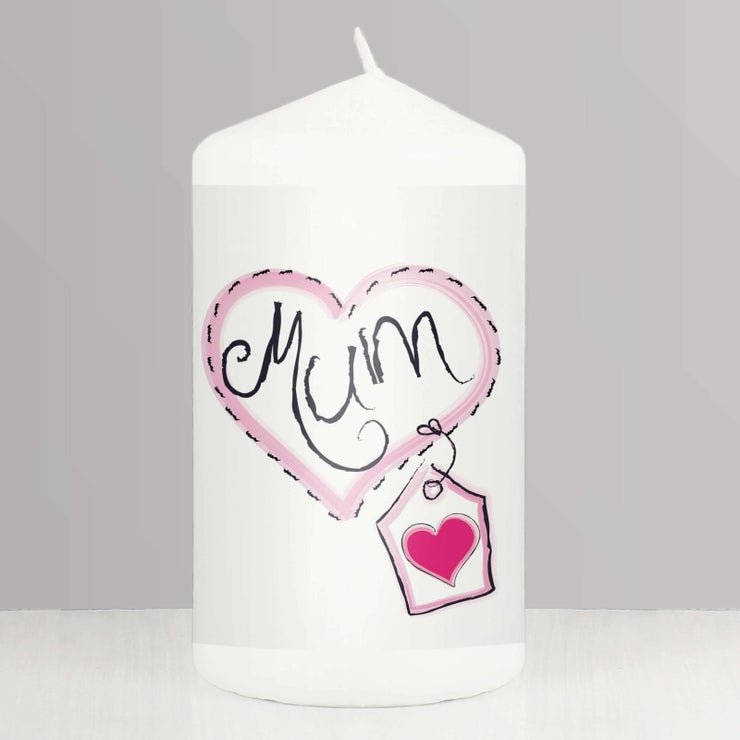 Mum Heart Stitch Candle-Candles & Holder-Give Personalised Gifts
