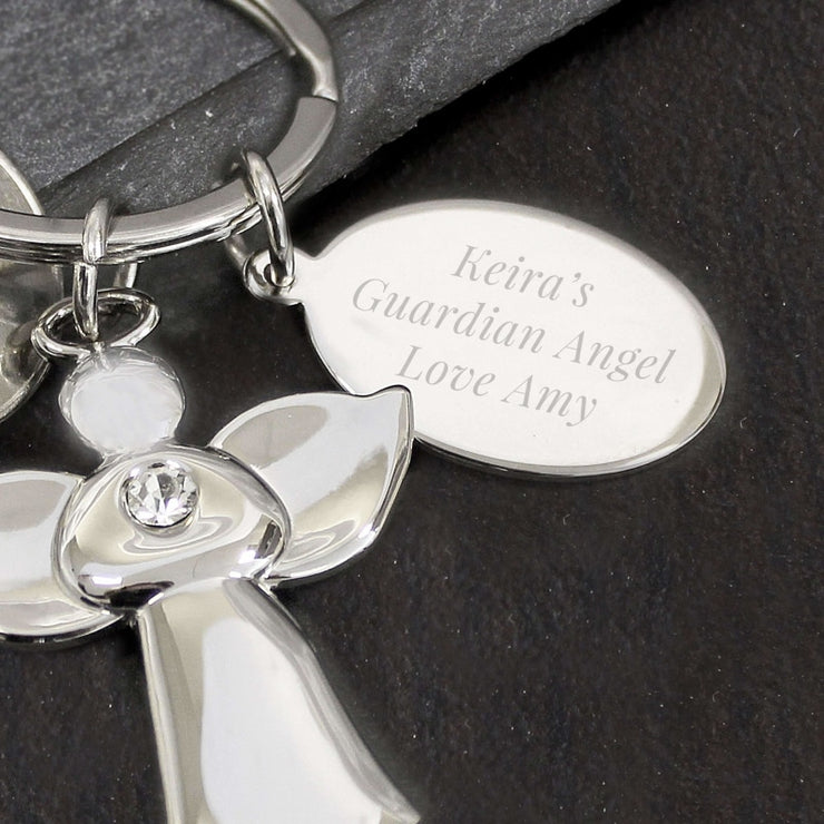 Personalied Silver Plated Angel Keyring-Keyring-Give Personalised Gifts